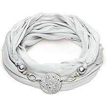 Sciarpa gioiello, foulard donna colore grigio chiaro con dettaglio in argilla polimerica, staccabile. Con Swarovski Prodotto artigianale