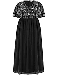347d9d8e832 Yours Clothing Women's Plus Size Luxe Embellished Maxi Dress