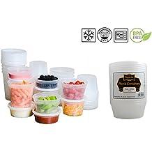In plastica a prova a microonde, Freezer, contenitori per alimenti, con coperchio, ideale per cucinare piatti pronti per lotti, plastica, 8oz - 235ml