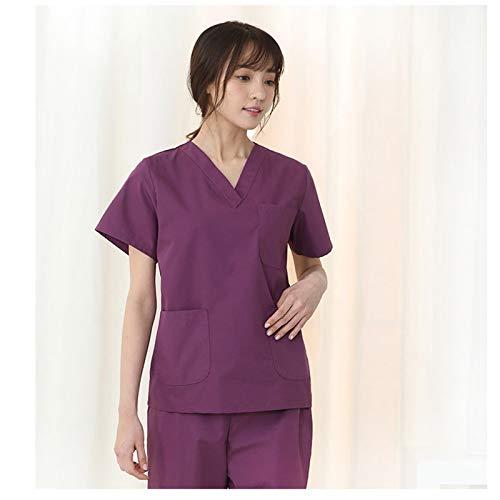 CX ECO Medizinische Uniformen Frauen Pflege Peelings Set Slim Peelings Medizinische Uniformen Anti-Falten V-Ausschnitt Top und Hosen Gesundheitswesen Uniform,Purple,L (Pflege-peelings Frauen Für)