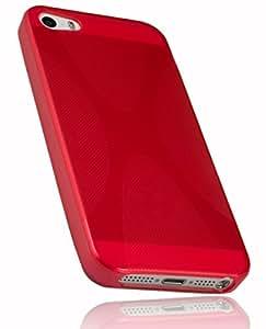 mumbi X-TPU Schutzhülle iPhone SE 5 5S Hülle halbtransparent rot