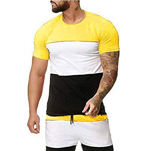 UINGKID Herren T-Shirt, Rundhals-Ausschnitt Slim Fit pleißentreifenmuster Lässige Mode Revers Kurzarmhirt (Ninja Turtle Kürbis)