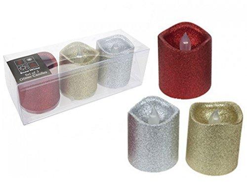 Juego de 3purpurina LED suave sin llama parpadeo velas pilar Iglesia Navidad