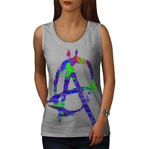 Anarchie Symbol Farbe Graffiti Damen Schwarz S-2XL Muskelshirt | Wellcoda Grau