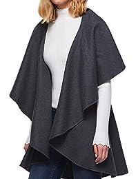 Manteau Cardigan Femme Hiver Chic,Koly irrégulier Kimono Cape Longue sans Manches Veste Grande Taille Mode Simple Solide Gilet Doux Pardessus Top vêtements Femmes Overcoat Automne