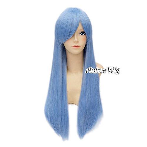 Top Cosplay Light Blue Damen 70cm lang gerade Partei Cosplay Perücke + (Blue Light Perücke)