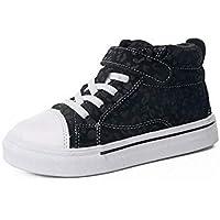 zj Zapatos Infantiles de Invierno Más Terciopelo Moda Leopardo Niñas Zhongbang Casual Zapatos de Algodón Niños Zapatos Moda Zapatos Ligeros,Negro,27