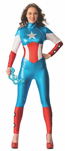 Damen Marvel Miss American Dream Captain America Catsuit, Erwachsene Kostüm – Kleine UK 8-10 (Captain America Kostüme Damen)