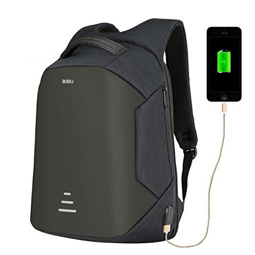 Aideal Zaino Antifurto per PC 15.6'' con Porta USB, Backpack laptop Zainetto Impermeabile per Uomo e Donna Ideale per Scuola,Viaggio,Lavoro, Capienza fino a 28 L (nero)
