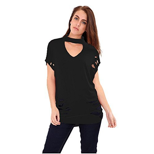 Damen V Halsband Ärmellos Riss-detail Beutel Locker Passung T-shirt Top 8-26 Schwarz