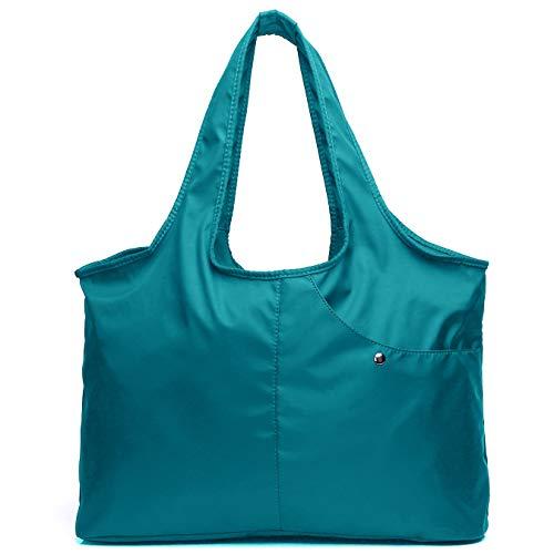 VOLGANIK ROCK Schultertasche für Damen, wasserdicht, Einkaufen, leicht, Arbeitstasche und Handtasche, Oxford-Nylon, große Kapazität Hobo, Blau (8045-lake Blue), X-Large -