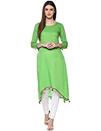 Ives High Low Hemline Green Cotton Solid 3/4 Sleeve Calf Length Kurta For Women