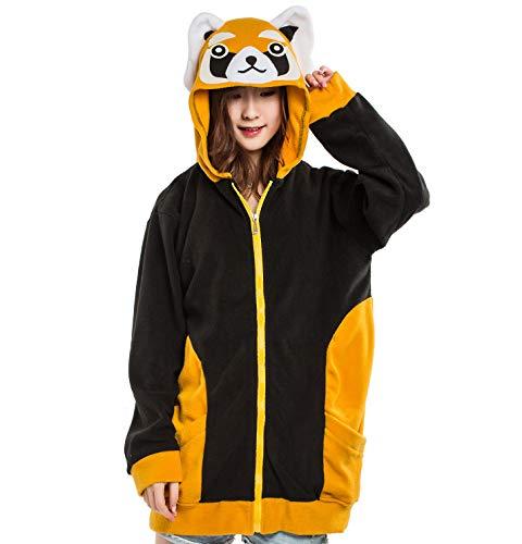 ULEEMARK Tier Kapuzenpullover Karton Cospaly Hoodie Jacke mit Reißverschluss Sweatshirt Pullover Fasching Karneval Halloween Kostüm Unisex, Rote Panda