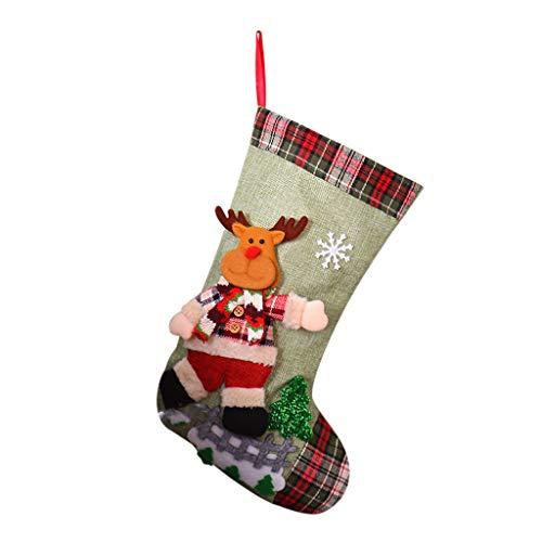 carol -1 3D Christmas Stocking Weihnachtssocke Weihnachtsstrümpfe Socken für Kamin Candy Geschenk Süßigkeiten Weihnachts Hängende Strümpfe Nikolausstrumpf Geschenktüte Weihnachtsbaum Ornament Hängen