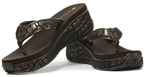 Dunlop Femme Flip Flops avec Wedge Texture Crocodile Dark Brown