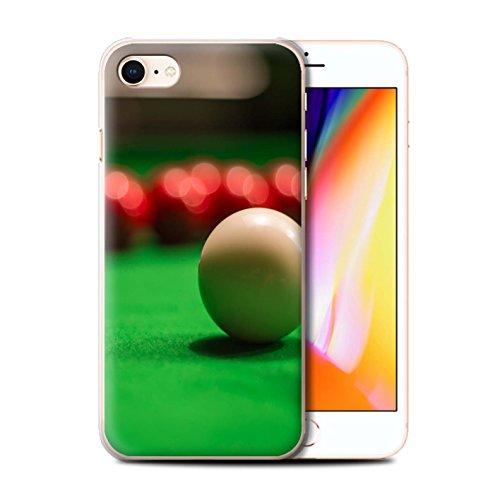 Stuff4 Hülle / Case für Apple iPhone 8 / Rote Kugel/Kreide Muster / Snooker Kollektion Weiße Kugel