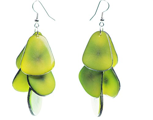 Tagua Chips Ohrringe grün