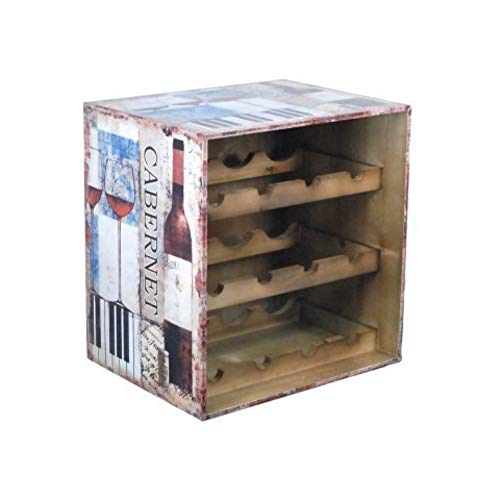 CAPRILO Mueble Botellero de Madera Decorativo para Botellas de Vino Cabernet. Muebles Auxiliares. Menaje de Cocina. Regalos Originales. 42 x 40 x 31 cm.