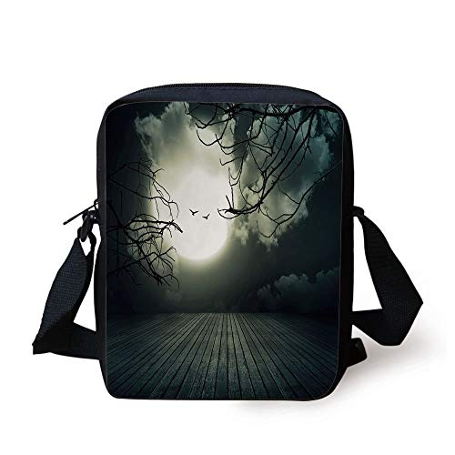 Halloween,Wooden Planks Floor with Leafless Branches and Blurred Full Moon Mysterious Decorative,Black Grey White Print Kids Crossbody Messenger Bag Purse
