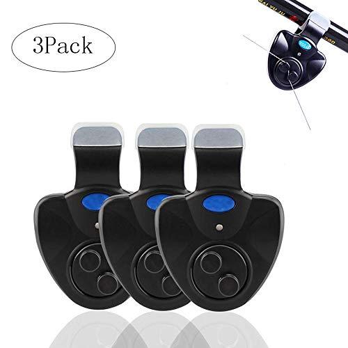 Fancartuk Bissanzeiger für Angeln, 3er-Pack, Seneitive elektronische Anzeige, LED-Soundalarm an Angelrute mit lauter Sirene für Tag/Nacht, Karpfenangeln