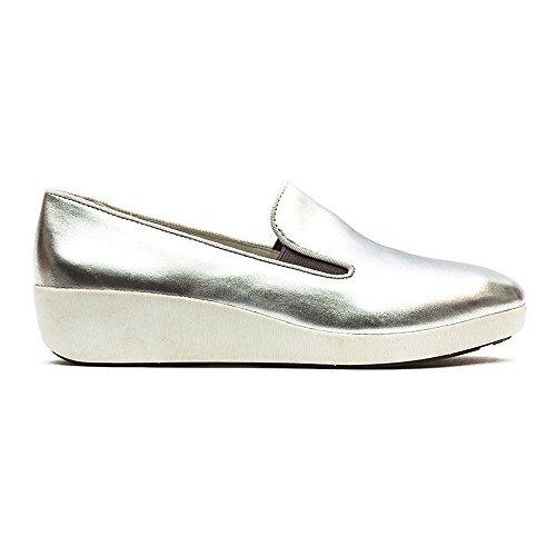 Fitflop F Pop Skate Cuir Argenté Silver Leather
