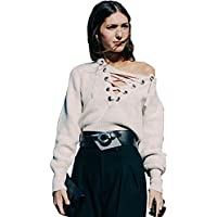 Longwu maniche lunghe sexy scollo a V maglione delle donne di base allentato benda Maglione lavorato a maglia