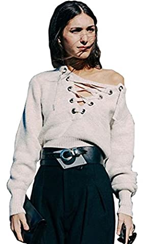ALAIX Women's V Neck High Low Basic Loose Bandage Knit Pullover Sweater Milk White