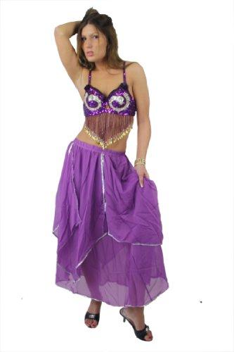 Egypt Bazar Zweiteiliges Bauchtanzkostüm aus 100% Chiffon, Free Size (S bis XL) - Lila Und Gold Bauchtanz Kostüm