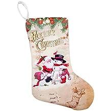 createjia Medias de Navidad Colgante Paño Ornamentos Botas Pequeñas Colgante Patrón de Navidad Imprimir Partido Decoración