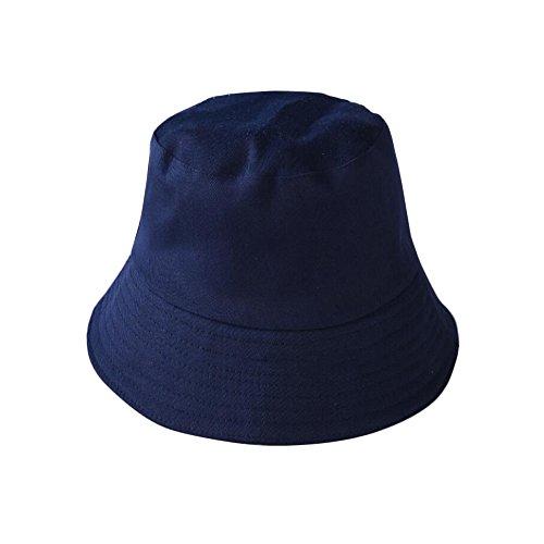 Qinlee Fischerhüte Sonnenhut Strandhut Studenten Lässig Hüte Visier Kappe Schutz Kopf Frühling-Sommer Hüte Dame Mädchen für Outdoor (Dunkelblau)