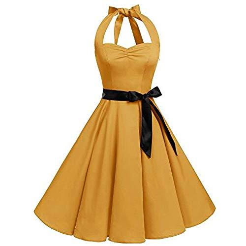 Damen Kleider Elegant Audrey Hepburn Kleid Reizvoller Ärmellos Neckholder Abendkleider Vintage Swing-Kleid Faltenrock Partykleid Retro Ballkleid Cocktailkleid