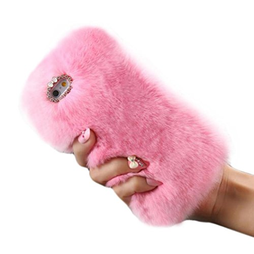 Ouneed® Für iphone 7 plus 5.5 Zoll Hülle, Luxus Kristall Bling Fall Winter Warm Fluffy Villi Pelz Plüsch Wolle Bling Fall Deckung für iPhone 7 Plus 5.5 Zoll (5.5 Zoll, Rosa)
