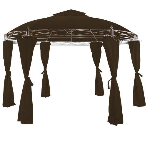 Deuba® Luxus Pavillon TOSCANA 3,5m Festzelt Gartenlaube Partyzelt Bierzelt Gartenzelt Zelt ✔ Ø 350cm ✔ Doppeldach ✔ Rund ✔ Braun