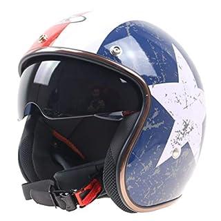 Erwachsener Half Face Motorradhelm Captain Style Motorradhelm mit eingebauter Sonnenbrille und Krempe Antishock Moto Helmets Motocross-Schutzkappen
