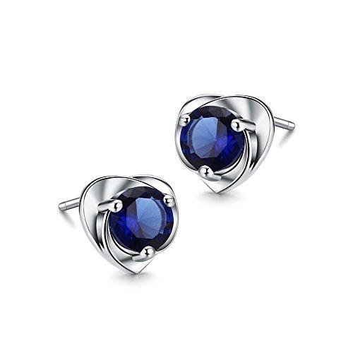 925 Sterling Silber Österreichischen Kristall Ohrringe Ohr Schmuck Blau Glitzer