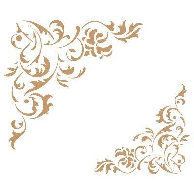 Stencil deco orlatura 034 floreale angolo. misure: dimensioni esterne dello stencil: 20 x 20 (cm) misure design: 11,6 x 10,9 (cm) misura figura 1: 8 x 7,5 (cm)