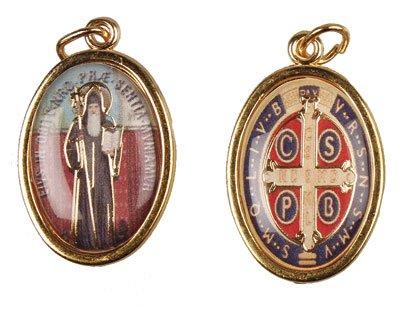 Medaille Benedikt St. (2,8cm doppelseitig ST St. Benedikt vergoldet medaille Charme Anhänger)