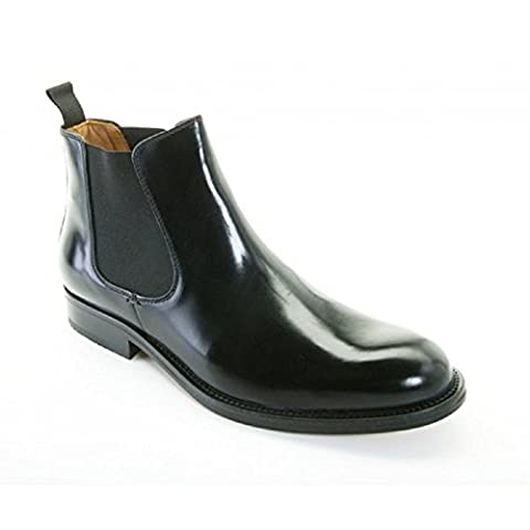 Mens John White Polished Leather Welted Sole Chelsea Boots (8
