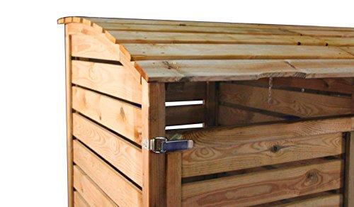 Mülltonnenbox aus Holz, Mülltonnenverkleidung – dreifach (für 3 Tonnen bis 240 Liter), wetterfest und somit ideal für draußen / Outdoor geeignet - 5