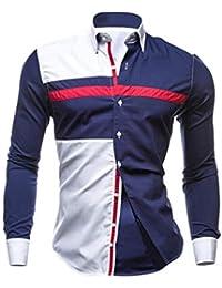 Diseño de Calidad del otoño de los Hombres de Costura Camisas de Manga  Larga Oxford Trajes 6867842337f57