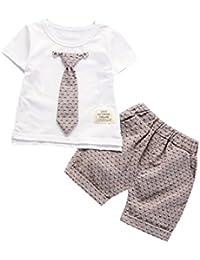 BYSTE bambino Ragazzo Carino piccolo gentiluomo cravatta Manica corta Camicie Pullover Felpa Maglietta Neonato Estate T-Shirt Top+ Bambini pantaloni corti pantaloncini 2pcs