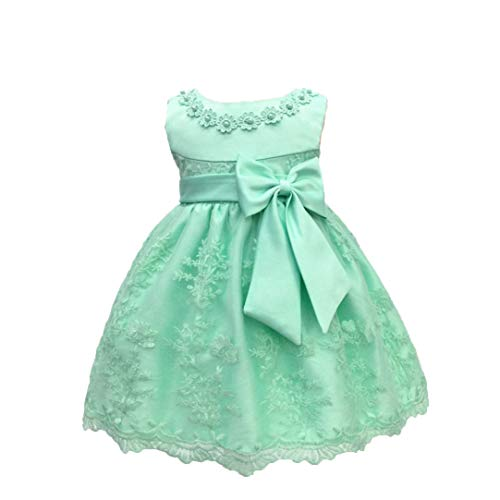 LZH Baby Mädchen Geburtstag Taufe Kleid Taufe Hochzeit Blumen Kleid (Die Kommunion Kleider Erste Baumwolle)