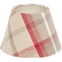 Balmoral Cranberry Red Beige Tartan Check Tweed Empire Lampshade Champagne Inner 25cm 30cm 35cm 40cm 50cm 60cm 70cm Tapered Cone Conical Lamp Shade Lightshade