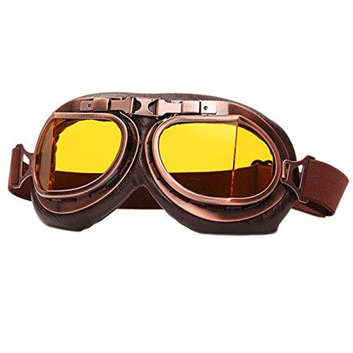yiwa Klassische Motorrad Brillen Vintage Schneemobil Motocross Brille Retro Aviator Pilot Cruiser ATV Bike UV-Schutz, Herren, Yellow Lens Motorrad Cruiser-brille