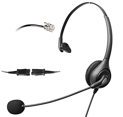 4Call H600NQMA Corded RJ Telephone Headset with NC Microphone + QD for Aastra Nortel Nec Mitel ShoreTel Toshiba Siemens GE InterTel Sprint Talkswitch Iwatsu Packet8 ESI Allworx 3Com Office IP Phones