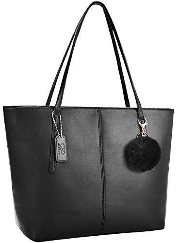 Damen Handtasche,COOFIT Shopper Handtasche Schwarz Shopper Damen Groß Schultertasche Elegant Schwarze Tasche Damen Groß Schule Handtasche mit Pelz Kugel Plüsch Schlüsselring Muttertag Geschenk -
