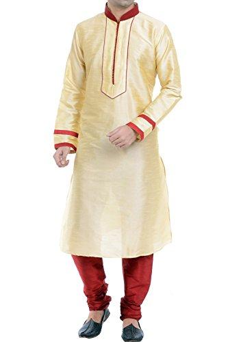 Vastramay Men's Golden Cotton Silk Kurta & Pyjama Set ( Size: 44)