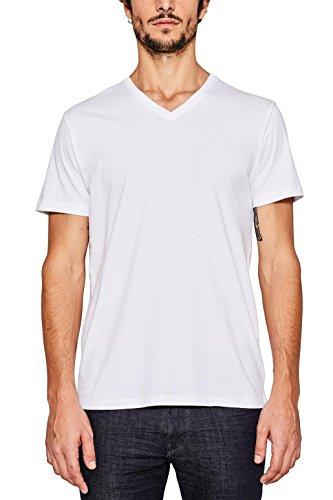 ESPRIT Herren 997EE2K821 T-Shirt, Weiß (White 100), Medium