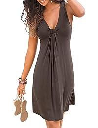02b89c85362 Asvivid Womens Boho Beach Casual Dress Sleeveless Halter Neck Bohemian  Print Keyhole Front Sundress Size 8