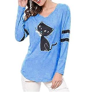 iHENGH Damen Top Bluse Lässig Mode T-Shirt Frühling Sommer Frauen Bequem Blusen Art und Weisebeiläufige Katze Splice lose Lange Hülse V Ansatz Tops